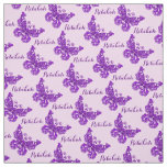 Personalised purple name butterfly inked pattern fabric