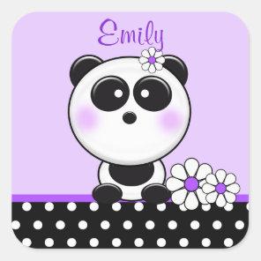Personalised Purple Panda Stickers