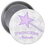 Personalised: Purple Princess Wand Button