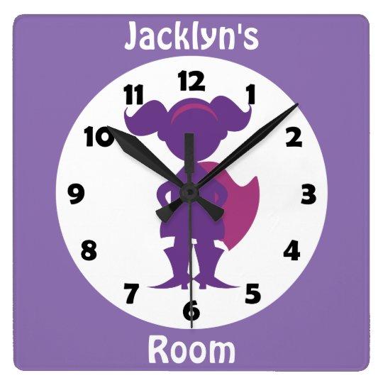 Personalised Purple Superhero Girl Kids Room Square Wall