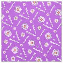 Personalised purple white daisy name pattern