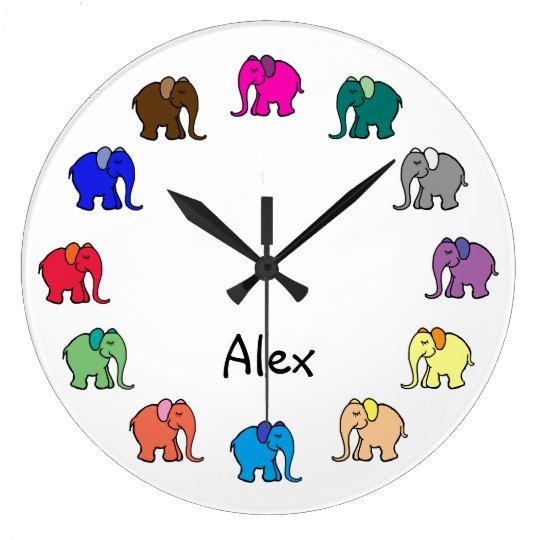 Personalised Rainbow Coloured Cute Elephants Large Clock