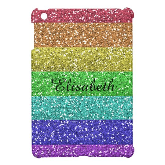 Personalised Rainbow Glitter Stripes iPad Mini Case