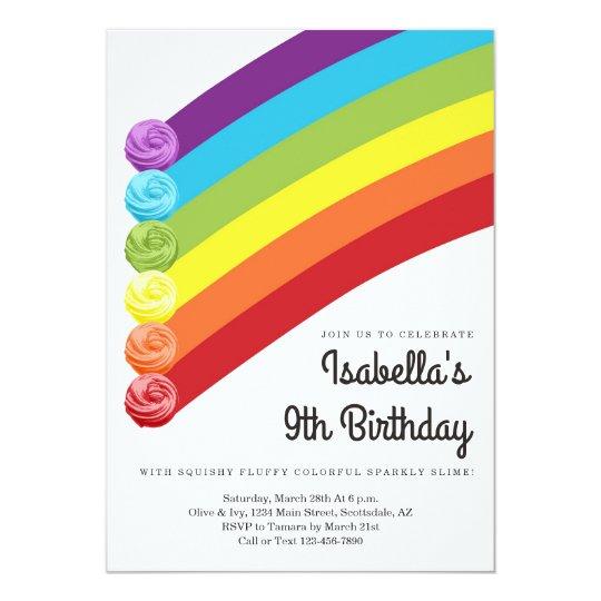 Personalised Rainbow Slime Themed Birthday Party Invitation Zazzle