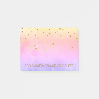 Personalised Rainbow Watercolor Faux Gold Foil Post-it Notes