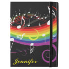 "Personalised Rainbow White Music Notes on Black iPad Pro 12.9"" Case"