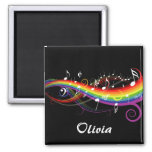 Personalised Rainbow White Music Notes on Black Square Magnet