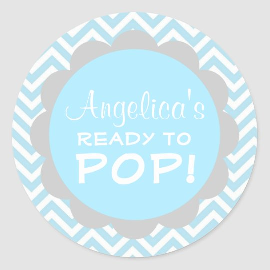 Personalised ready to pop baby shower blue boy classic round sticker