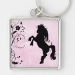 Personalised Rearing Horse Keychain