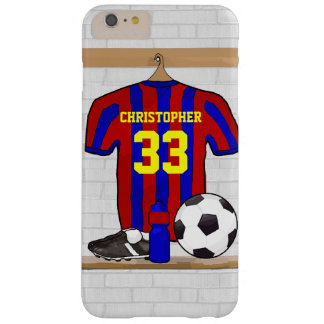 Personalised Red and Blue Football Soccer Jersey Barely There iPhone 6 Plus Case