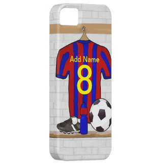 Personalised Red and blue football soccer Jersey iPhone 5 Cases