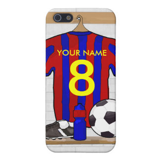 Personalised Red and blue football soccer Jersey iPhone 5 Covers