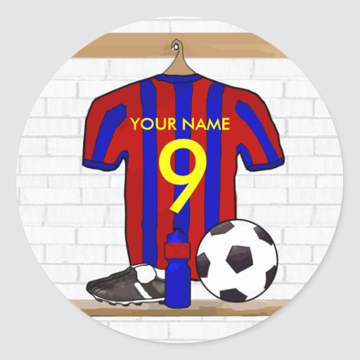 Personalised Red and blue football soccer Jersey Round Stickers