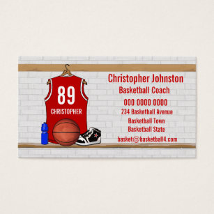 Jersey business cards business card printing zazzle uk personalised red and white basketball jersey business card reheart
