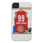 Personalised Red and White Basketball Jersey iPhone 4 Case-Mate Cases
