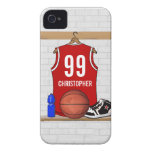 Personalised Red and White Basketball Jersey iPhone 4 Cover