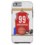 Personalised Red and White Basketball Jersey Tough iPhone 6 Case