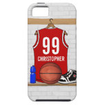 Personalised Red and White Basketball Jersey iPhone 5 Cover