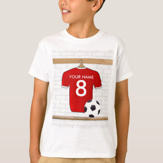 Personalised Red and White Football Soccer Jersey T-Shirt