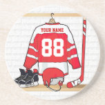 Personalised Red and White Ice Hockey Jersey Beverage Coaster