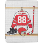 Personalised Red and White Ice Hockey Jersey iPad Cover
