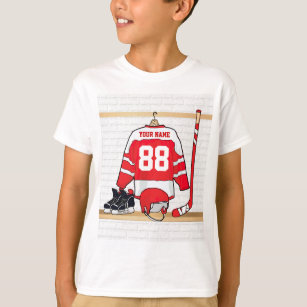 Personalised Red and White Ice Hockey Jersey T-Shirt