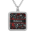 Personalised Red and white Musical notes on black Personalised Necklace