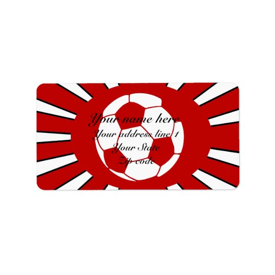 Personalised red and white soccer design label