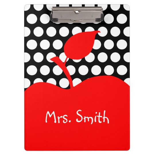 Personalised Red Apple Black and White Polka Dot