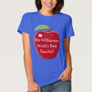 Personalised Red Apple Painting Best Teacher's Tee Shirt