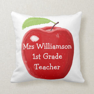 Personalised Red Apple Painting Teacher's Cushions