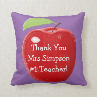 Personalised Red Apple Painting Teacher's Throw Cushions