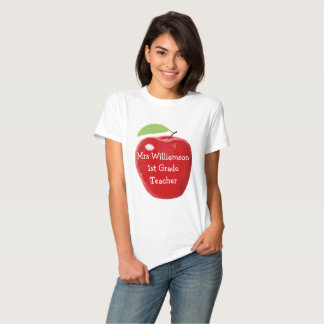Personalised Red Apple Painting Teacher's Tshirts