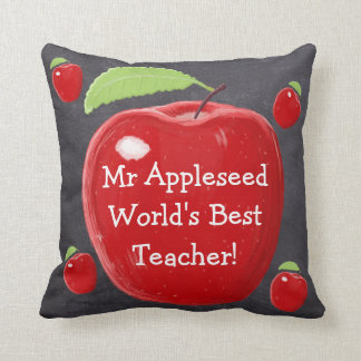 Personalised Red Apple World's Best Teacher's Cushion