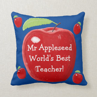 Personalised Red Apple World's Best Teacher's Cushions