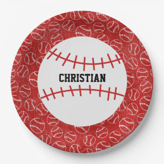 Personalised Red Baseball Pattern with Baseball 9 Inch Paper Plate