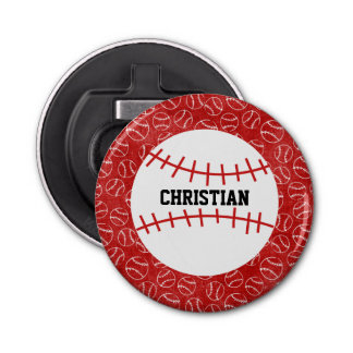 Personalised Red Baseball Pattern with Baseball Bottle Opener