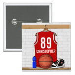 Personalised Red Basketball Jersey Button