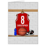 Personalised Red Basketball Jersey Cards