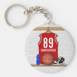 Personalised Red Basketball Jersey Key Chains