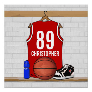 Personalised Red Basketball Jersey Posters