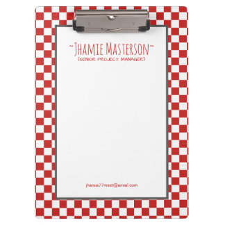 Personalised Red Chequered Clipboard