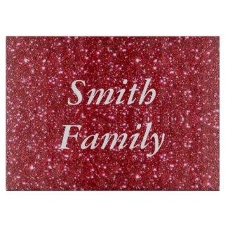 Personalised Red Glitter Cutting Board