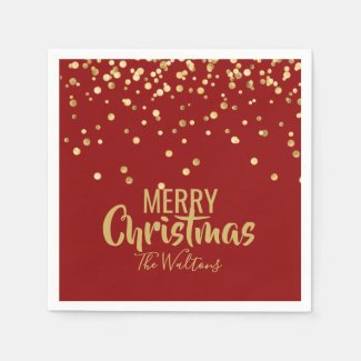 Personalised RED Gold Confetti Merry Christmas Napkin
