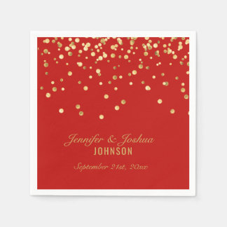 Personalised RED Gold Confetti Wedding Paper Napkin