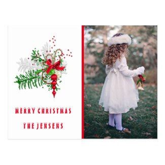Personalised Red & Green Photo Merry Christmas Postcard