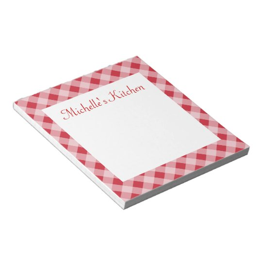 Personalised Red Kitchen Grocery List Notepad Gift