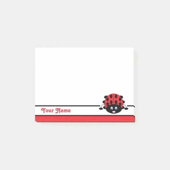 Personalised Red Ladybug Post-it Notes
