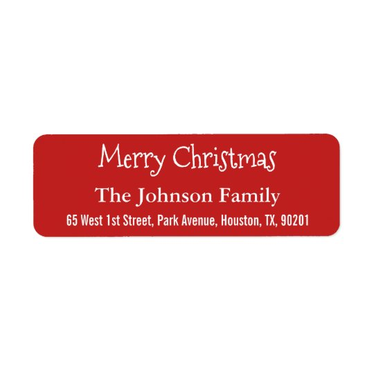 Personalised Red Merry Christmas Return Address