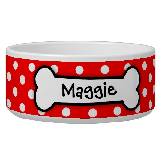 Personalised Red Polka Dot Dog Bowl